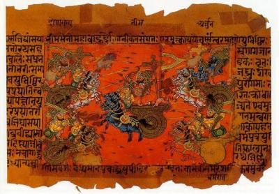Ilustrasi saat perang di Kurukshetra dalam kitab Mahabharata.